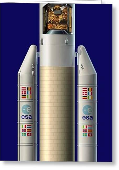 Ariane 5 Rocket With Ard, Artwork Greeting Card by David Ducros