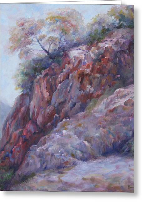 Greeting Card featuring the painting Arizona Cliff by Bonnie Goedecke