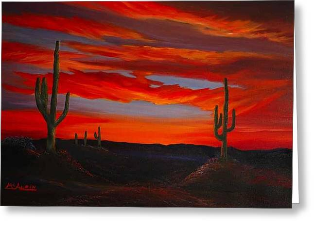 Arizona Sunset Greeting Card by Tom McAlpin
