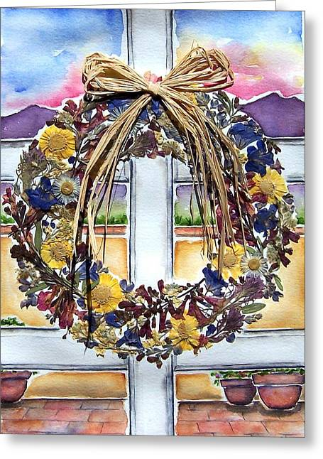 Arizona Wildflower Wreath Greeting Card by Regina Ammerman