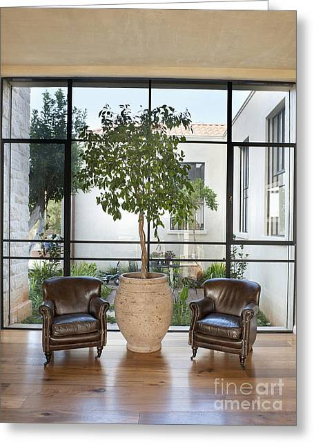 Armchairs In Front Of A Large Window Greeting Card by Noam Armonn
