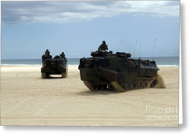 Armored Assault Vehicles Performing Greeting Card by Stocktrek Images