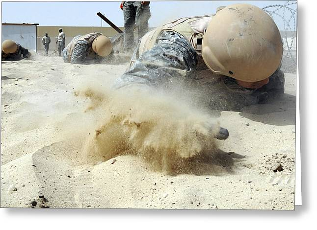 Army Soldier Pulls Himself Greeting Card by Stocktrek Images