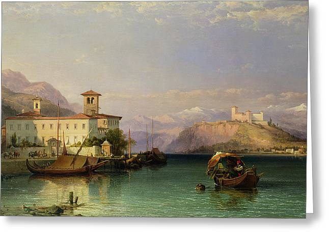 Arona And The Castle Of Angera Lake Maggiore Greeting Card by George Edwards Hering