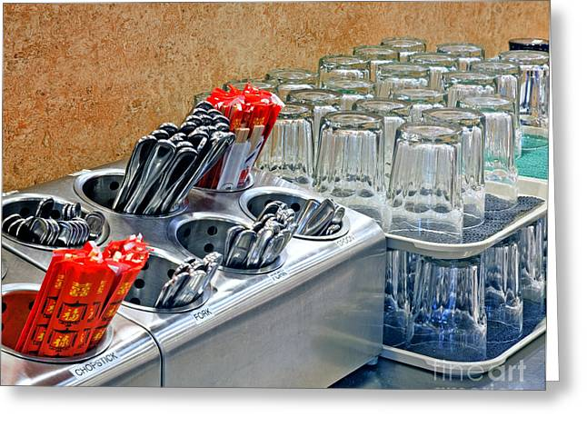 Arranged Glasses And Silverware Greeting Card by David Buffington