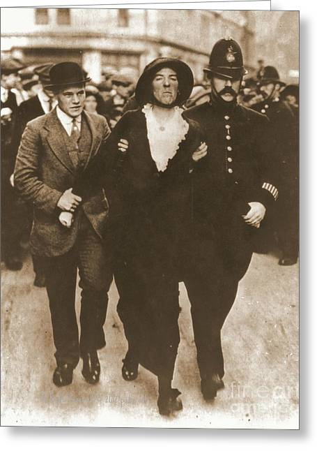 Arrest Of A Suffragette Greeting Card by Padre Art