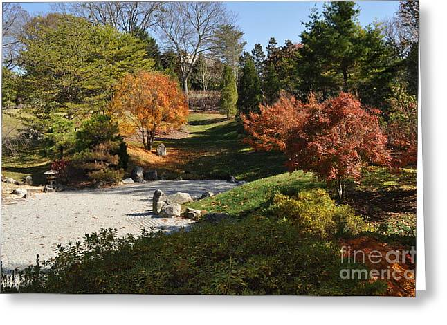 Art In The Gardens Greeting Card by Denise Ellis