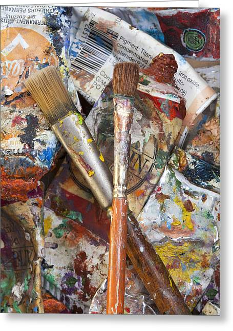 Art Is Messy 3 Greeting Card by Carol Leigh