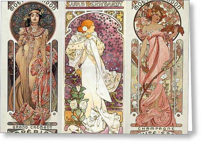 Art Noveau By Alfonse Mucha Collage Greeting Card by Don Struke