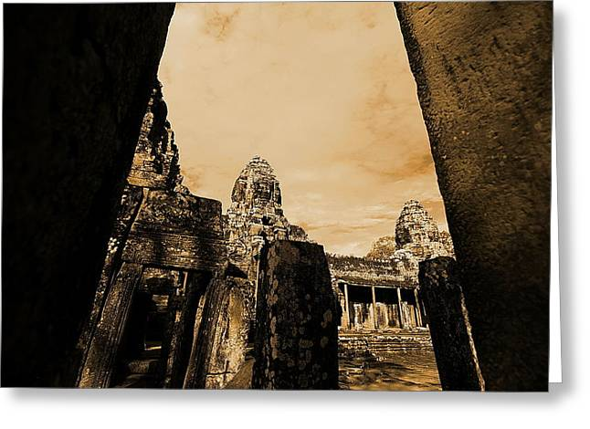 Greeting Card featuring the photograph Art Temple by Arik S Mintorogo