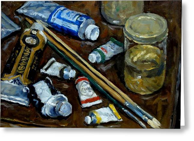 Still Life Tubes And Brushes Greeting Card by Thor Wickstrom