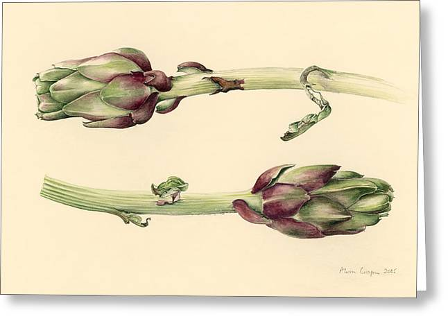 Artichokes Greeting Card by Alison Cooper