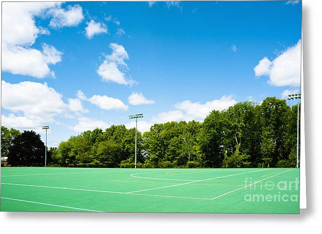 Artificial Turf Athletic Field Greeting Card by Sam Bloomberg-rissman
