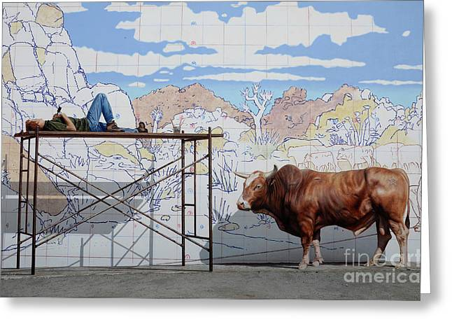 Artist At Work Greeting Card by Bob Christopher