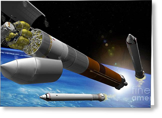 Artist Rendition Of A Heavy-lift Rocket Greeting Card