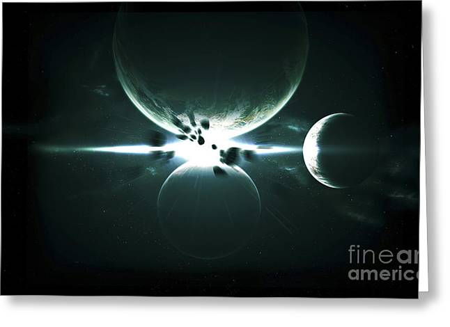 Artists Concept Of A Planet And Its 3 Greeting Card by Kevin Lafin