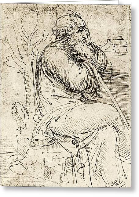 Artwork By Leonardo Da Vinci Greeting Card by Sheila Terry