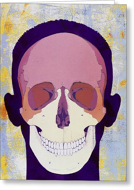 Artwork Of A Human Skull In Front View Greeting Card by Hans-ulrich Osterwalder