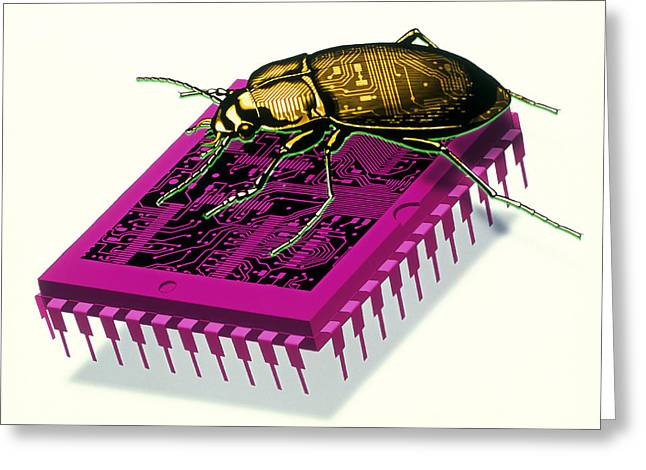 Artwork Of Millennium Bug With Beetle On Microchip Greeting Card by Victor Habbick Visions
