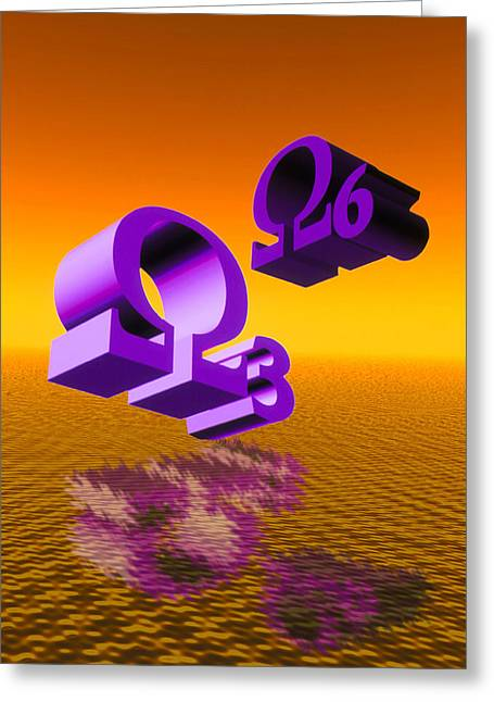 Artwork Of Omega 3 And Omega 6 Signs Over Oil Greeting Card by Victor Habbick Visions