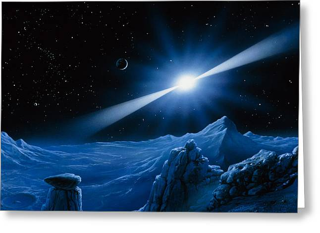 Artwork Of Pulsar Over A Planet Greeting Card by Detlev Van Ravenswaay