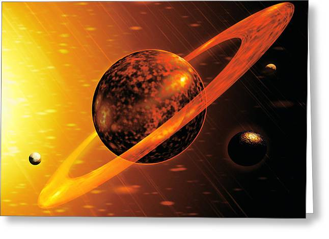 Artwork Of Red Dwarf Star With Flares Over Planet Greeting Card by Victor Habbick Visions