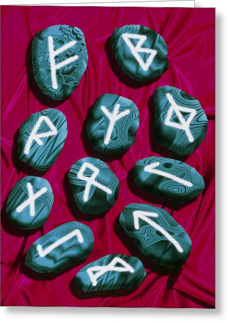 Artwork Of Rune Stones Used For Fortune Telling Greeting Card by Victor Habbick Visions