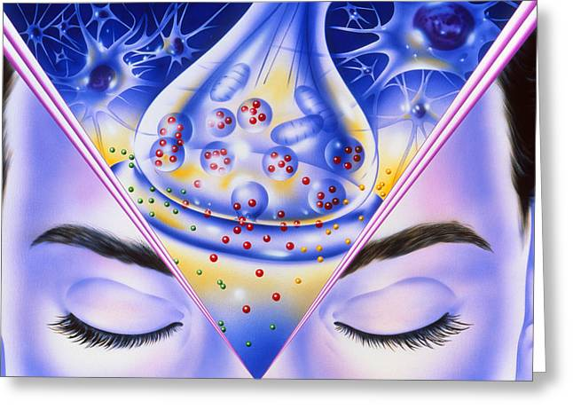 Artwork Showing Sleeping Drug Action With Face Greeting Card by John Bavosi
