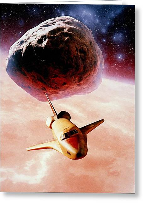 Artwork: Space Shuttle Of Ceres Mining Corporation Greeting Card by Julian Baum