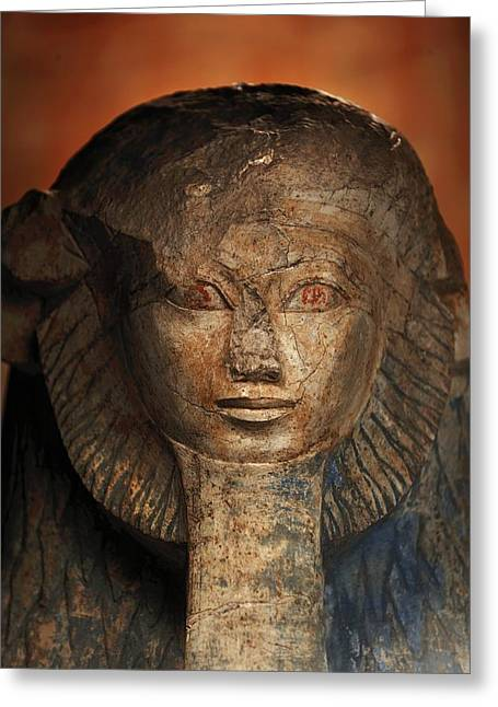 As A Sphinx, Hatshepsut Displays Greeting Card by Kenneth Garrett