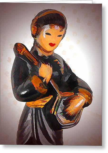 Asian Beauty Minstrel Greeting Card by Kathy Clark
