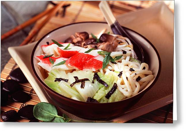 Asian Crab Noodle Soup Greeting Card by Vance Fox