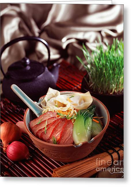Asian Duck Noodle Soup Greeting Card by Vance Fox