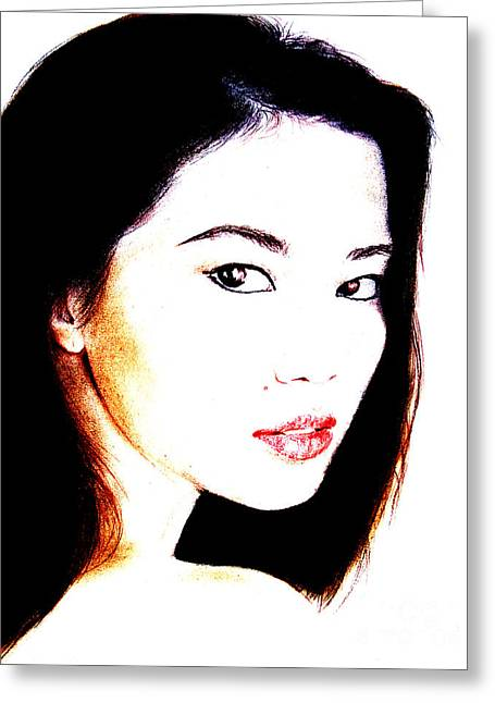 Asian Model  Greeting Card by Jim Fitzpatrick