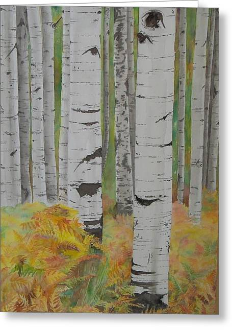 Aspens And Bracken Greeting Card by Laurel Thomson