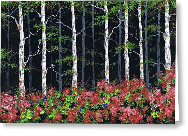 Aspens At Night Greeting Card