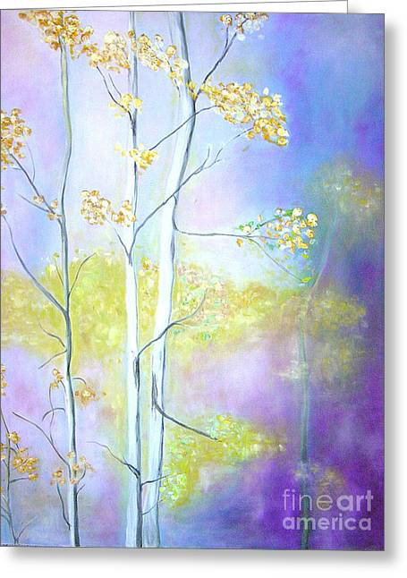 Greeting Card featuring the painting Aspens  by Barbara Anna Knauf