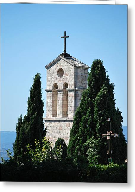 Greeting Card featuring the photograph Assisi Crosses by Amee Cave