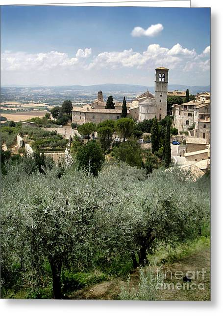 Assisi Italy - Bella Vista - 02 Greeting Card by Gregory Dyer