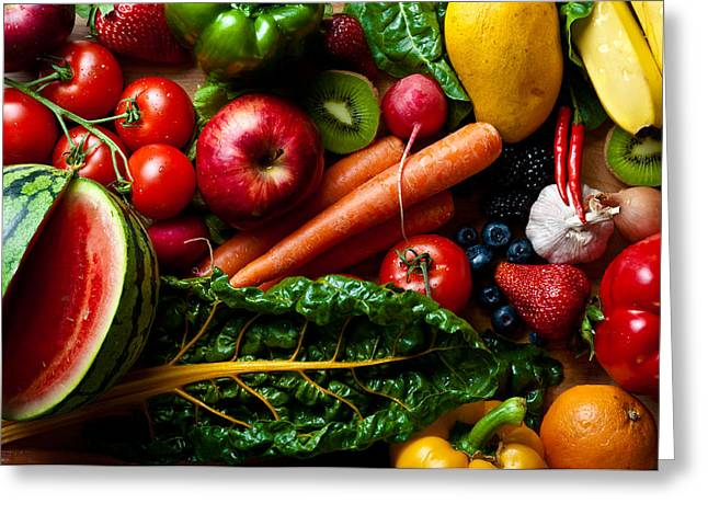 Assorted Fruits Vegetables And Spicy Stuff Greeting Card by Arjuna Kodisinghe