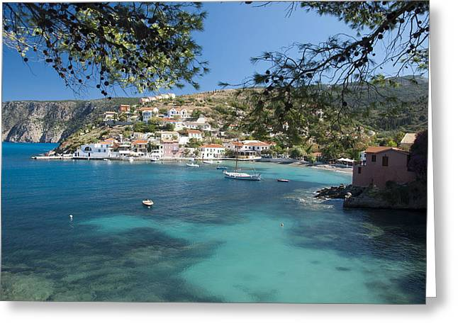 Assos In Kefalonia Greeting Card by Rob Hemphill