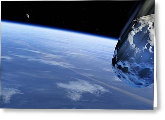 Asteroid Approaching Earth, Artwork Greeting Card by Detlev Van Ravenswaay