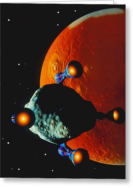 Asteroid Being Moved Past The Planet Mars Greeting Card by Julian Baum