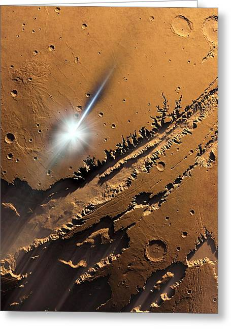 Asteroid Impact On Mars, Artwork Greeting Card by Detlev Van Ravenswaay