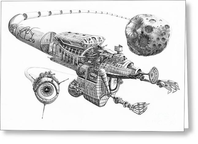 Asteroid Mining Ship Greeting Card by Murphy Elliott