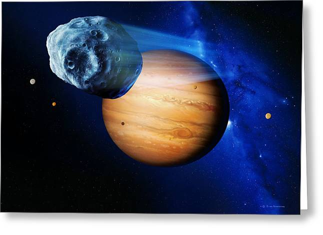 Asteroid Passing Jupiter Greeting Card by Detlev Van Ravenswaay