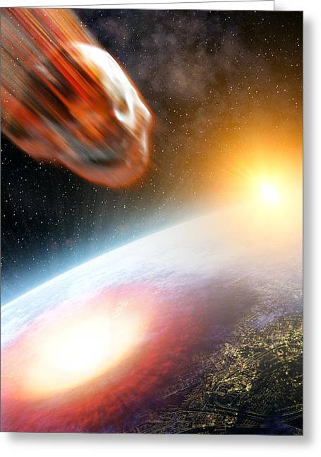 Asteroid Strike, Artwork Greeting Card by Take 27 Ltd