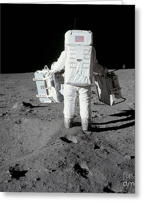 Astronaut Carrying Equipment Greeting Card by Stocktrek Images