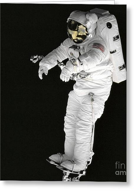 Astronaut Stands On A Portable Foot Greeting Card by Stocktrek Images