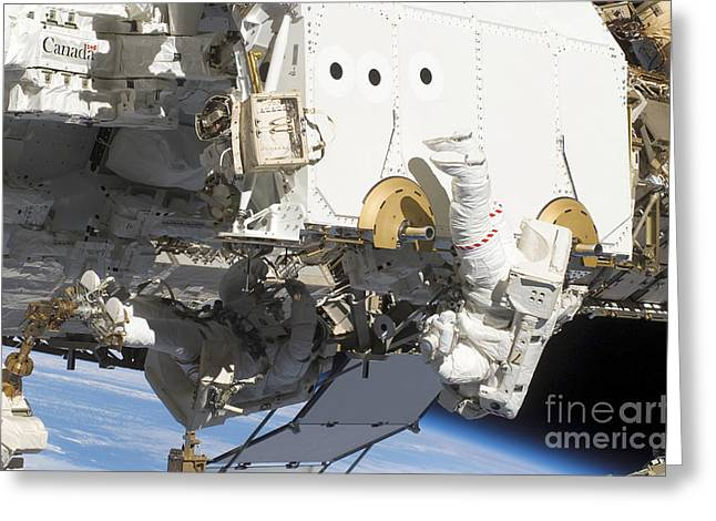 Astronauts Participate Greeting Card by Stocktrek Images